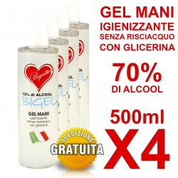 Gel Igienizzante mani senza risciacquo 70% di alcool 500ml X4