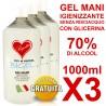 Gel Igienizzante mani senza risciacquo 70% di alcool 1000ml X3