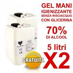 Gel Igienizzante mani senza risciacquo 70% di alcool 5000ml 5l X2